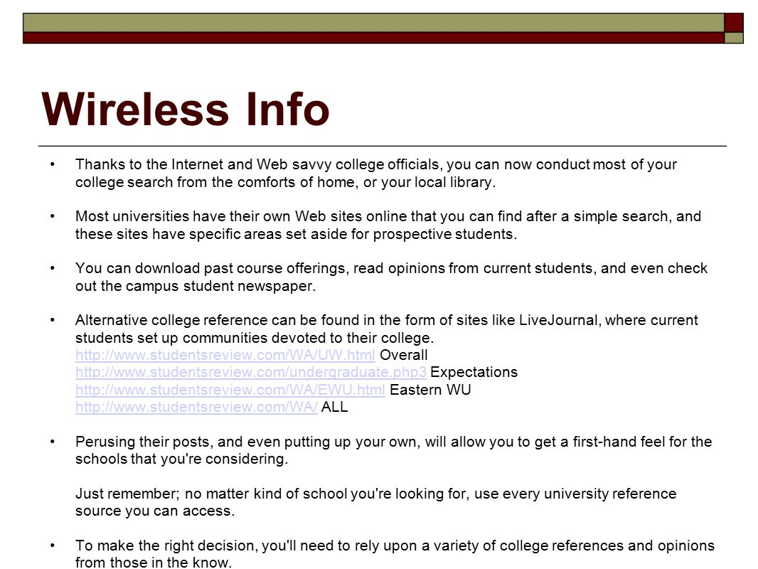 college research sites