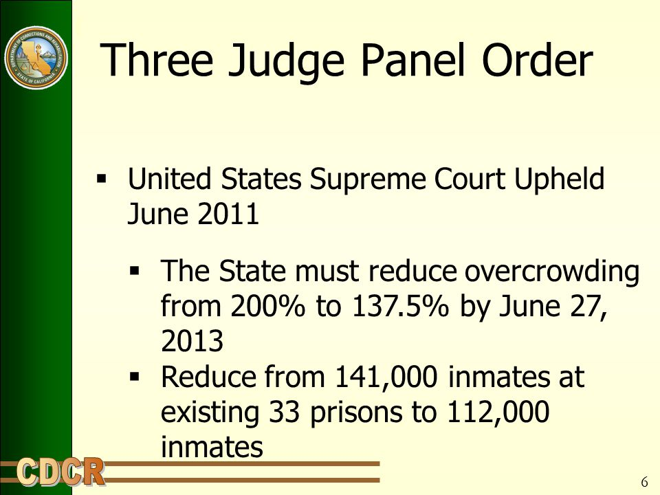 Three Judge Panel Order  United States Supreme Court Upheld June 2011  The State must reduce overcrowding from 200% to 137.5% by June 27, 2013  Reduce from 141,000 inmates at existing 33 prisons to 112,000 inmates 6