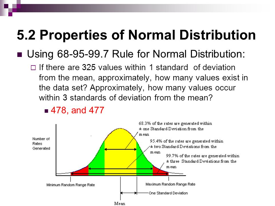 5.2 Properties of Normal Distribution Using Rule for Normal Distribution:  If there are 325 values within 1 standard of deviation from the mean, approximately, how many values exist in the data set.