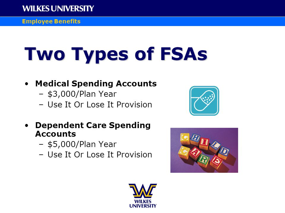 Employee Benefits Two Types of FSAs Medical Spending Accounts –$3,000/Plan Year –Use It Or Lose It Provision Dependent Care Spending Accounts –$5,000/Plan Year –Use It Or Lose It Provision