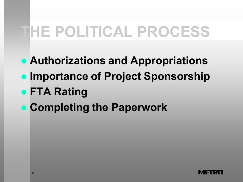 6 THE POLITICAL PROCESS Authorizations and Appropriations Importance of Project Sponsorship FTA Rating Completing the Paperwork