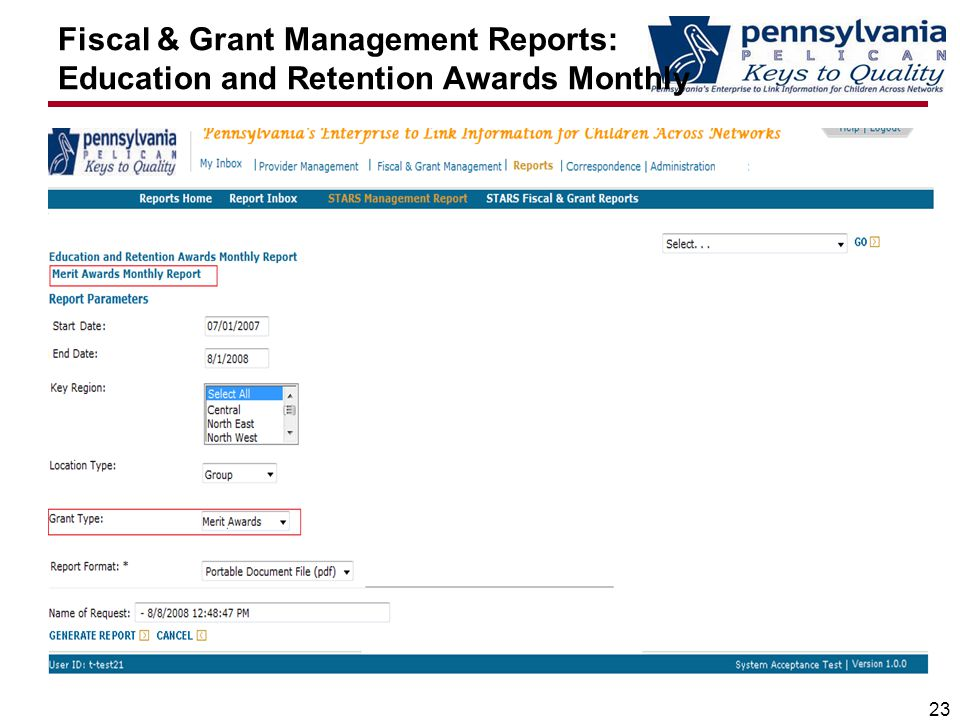 Fiscal & Grant Management Reports: Education and Retention Awards Monthly 23