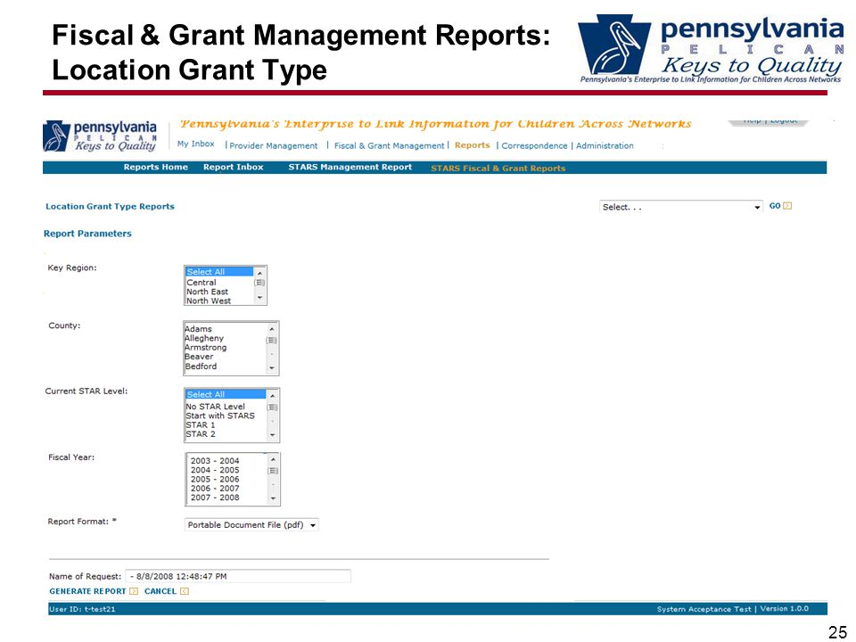 Fiscal & Grant Management Reports: Location Grant Type 25