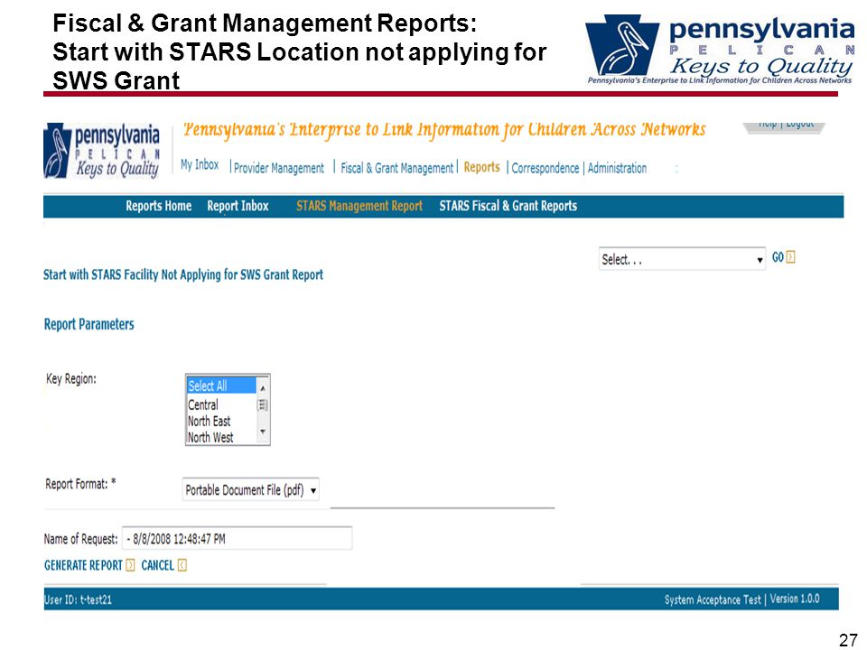 Fiscal & Grant Management Reports: Start with STARS Location not applying for SWS Grant 27