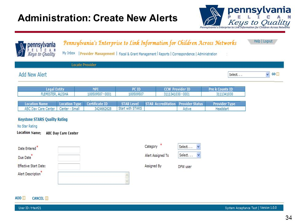 Administration: Create New Alerts 34
