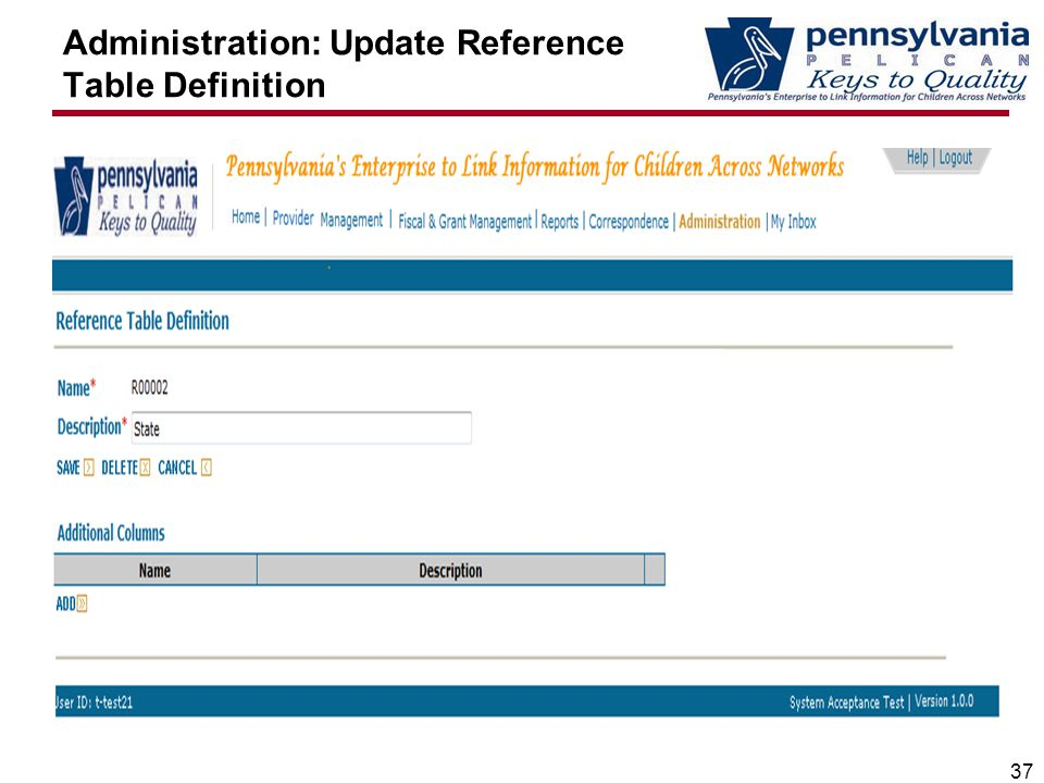 Administration: Update Reference Table Definition 37