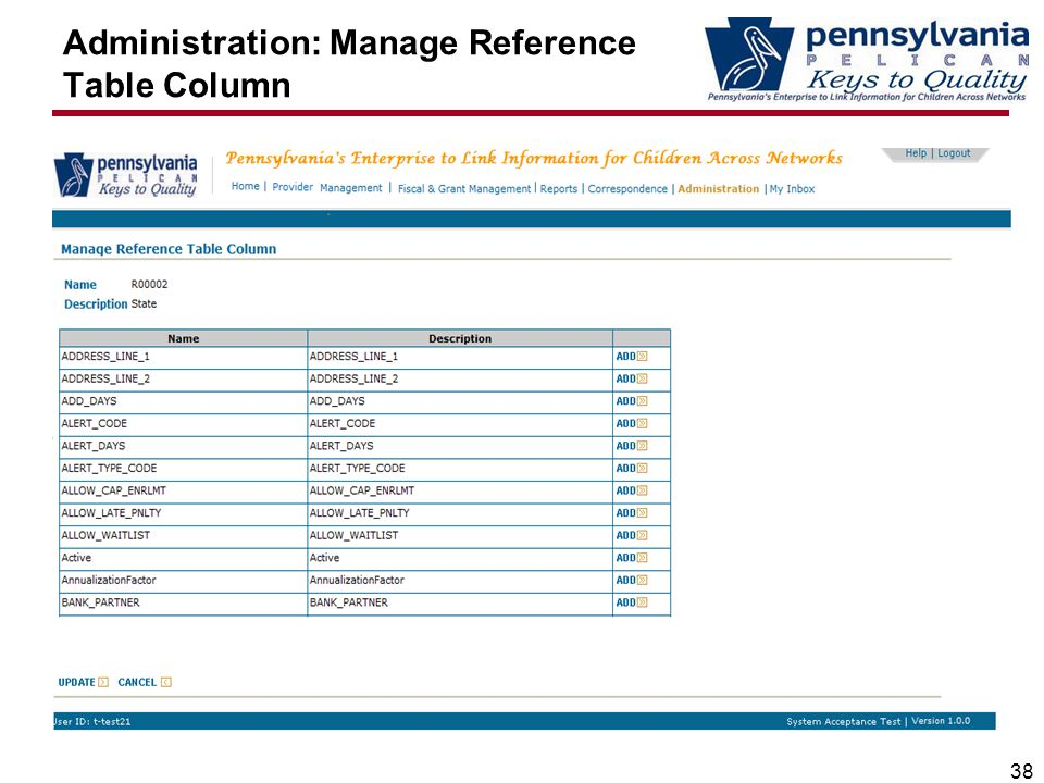 Administration: Manage Reference Table Column 38