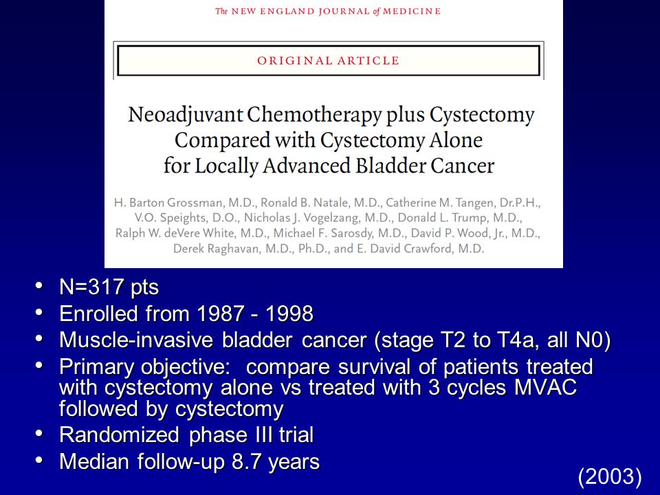 N=317 pts N=317 pts Enrolled from Enrolled from Muscle-invasive bladder cancer (stage T2 to T4a, all N0) Muscle-invasive bladder cancer (stage T2 to T4a, all N0) Primary objective: compare survival of patients treated with cystectomy alone vs treated with 3 cycles MVAC followed by cystectomy Primary objective: compare survival of patients treated with cystectomy alone vs treated with 3 cycles MVAC followed by cystectomy Randomized phase III trial Randomized phase III trial Median follow-up 8.7 years Median follow-up 8.7 years (2003)