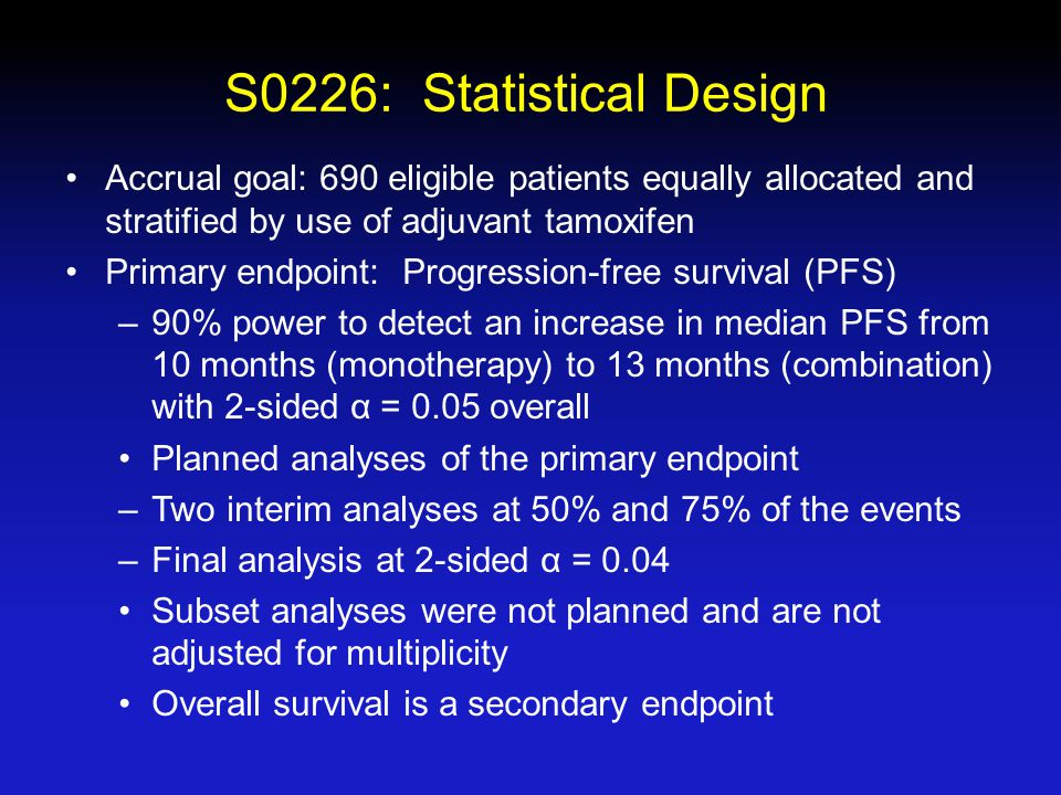 S0226: Statistical Design Accrual goal: 690 eligible patients equally allocated and stratified by use of adjuvant tamoxifen Primary endpoint: Progression-free survival (PFS) –90% power to detect an increase in median PFS from 10 months (monotherapy) to 13 months (combination) with 2-sided α = 0.05 overall Planned analyses of the primary endpoint –Two interim analyses at 50% and 75% of the events –Final analysis at 2-sided α = 0.04 Subset analyses were not planned and are not adjusted for multiplicity Overall survival is a secondary endpoint