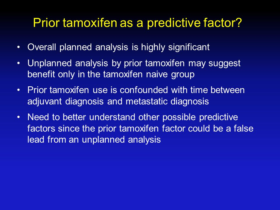 Prior tamoxifen as a predictive factor.