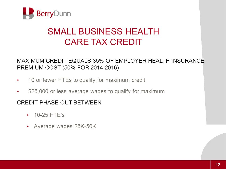 12 SMALL BUSINESS HEALTH CARE TAX CREDIT MAXIMUM CREDIT EQUALS 35% OF EMPLOYER HEALTH INSURANCE PREMIUM COST (50% FOR ) 10 or fewer FTEs to qualify for maximum credit $25,000 or less average wages to qualify for maximum CREDIT PHASE OUT BETWEEN FTE's Average wages 25K-50K