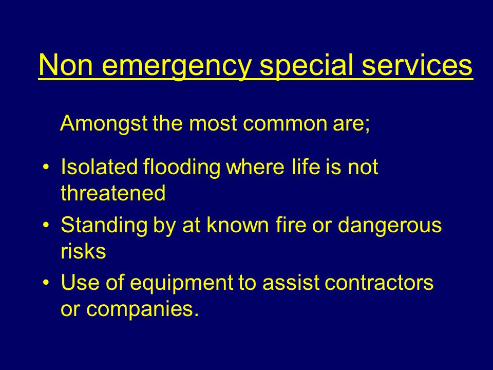 Emergency special services Four main categories; The saving of human life and rescue or protection of persons Dealing with public emergencies The saving of animal life and rescue or protection of persons Requests to use brigade equipment.