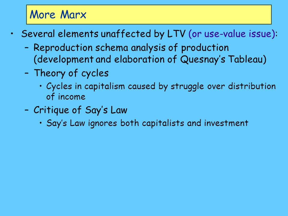 More Marx Several elements unaffected by LTV (or use-value issue): –Reproduction schema analysis of production (development and elaboration of Quesnay's Tableau) –Theory of cycles Cycles in capitalism caused by struggle over distribution of income –Critique of Say's Law Say's Law ignores both capitalists and investment