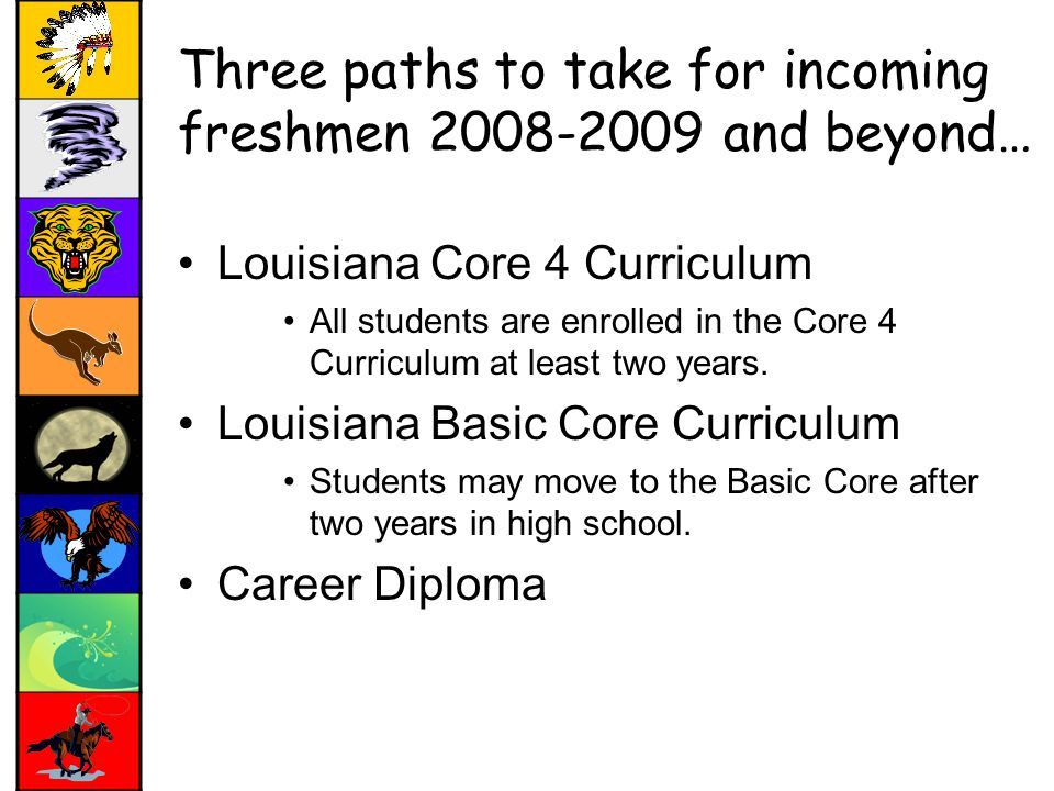 Three paths to take for incoming freshmen and beyond… Louisiana Core 4 Curriculum All students are enrolled in the Core 4 Curriculum at least two years.