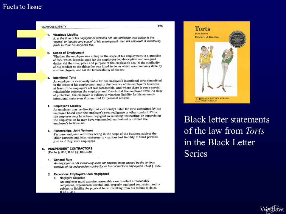 Black letter statements of the law from Torts in the Black Letter Series Facts to Issue