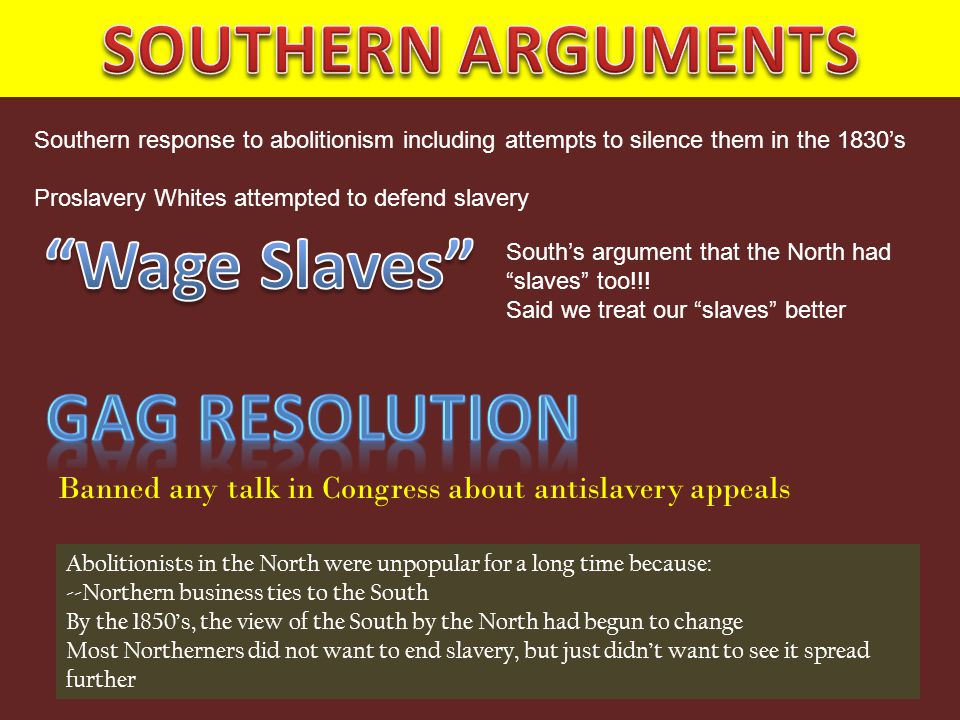 Southern response to abolitionism including attempts to silence them in the 1830's Proslavery Whites attempted to defend slavery South's argument that the North had slaves too!!.