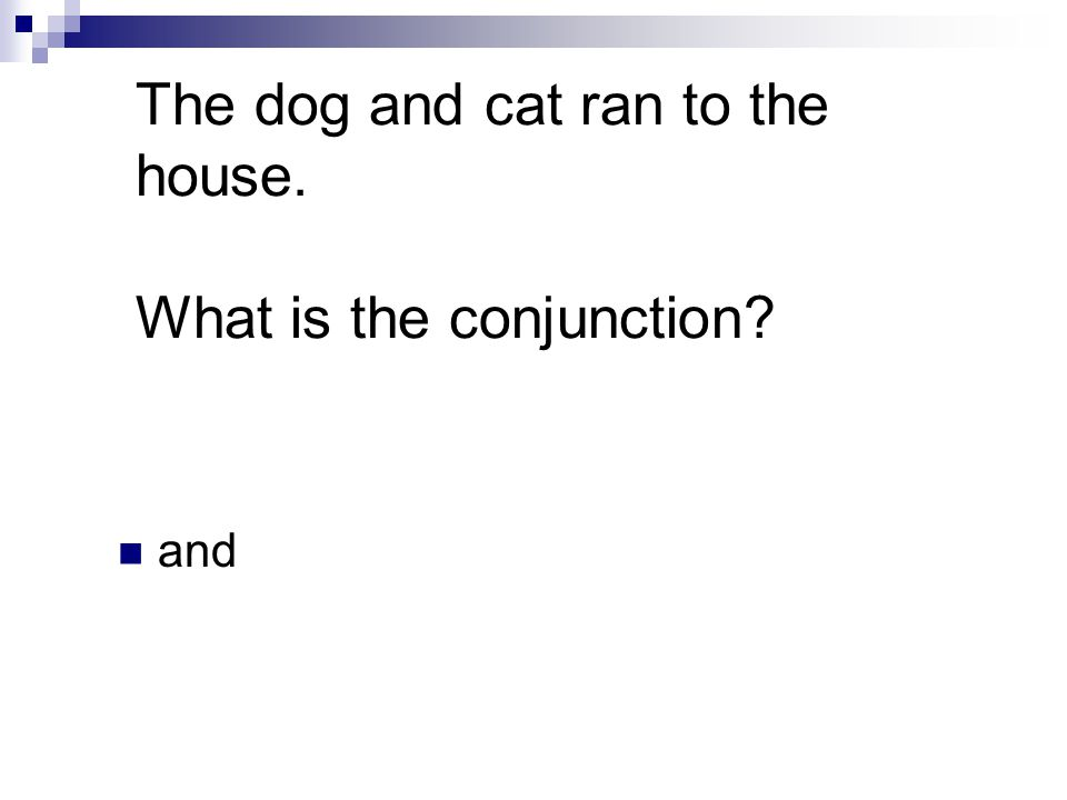 The dog and cat ran to the house. What is the conjunction and