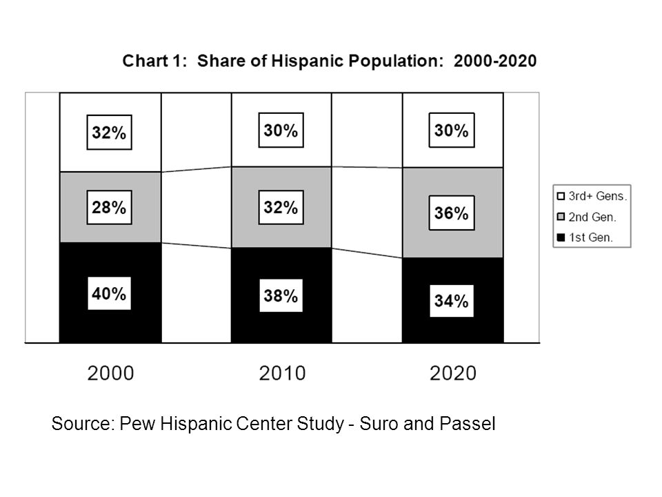 Source: Pew Hispanic Center Study - Suro and Passel