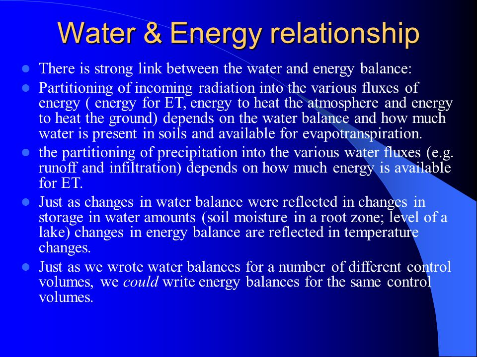 Conservation of Energy The conservation equation as applied to energy, or conservation of energy, is known as the energy balance.