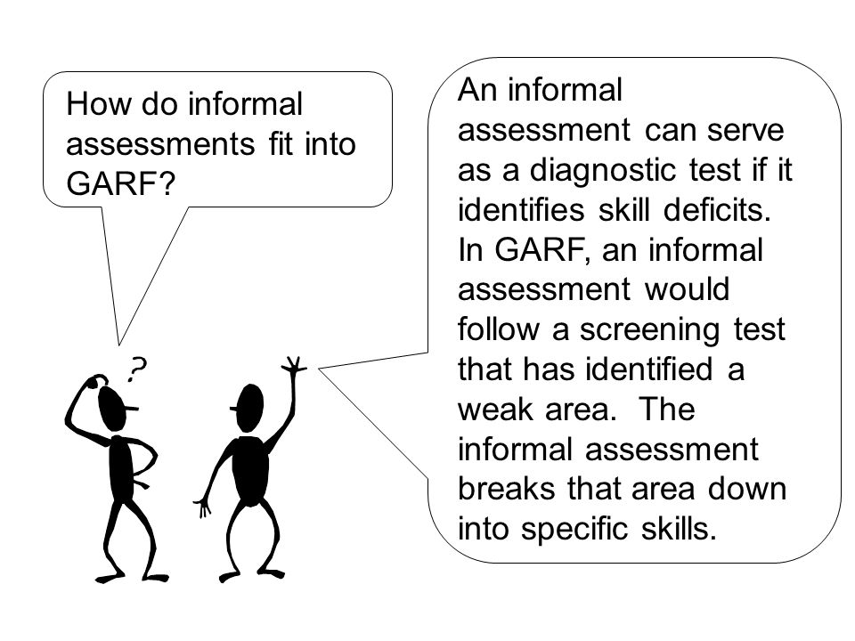 How do informal assessments fit into GARF.