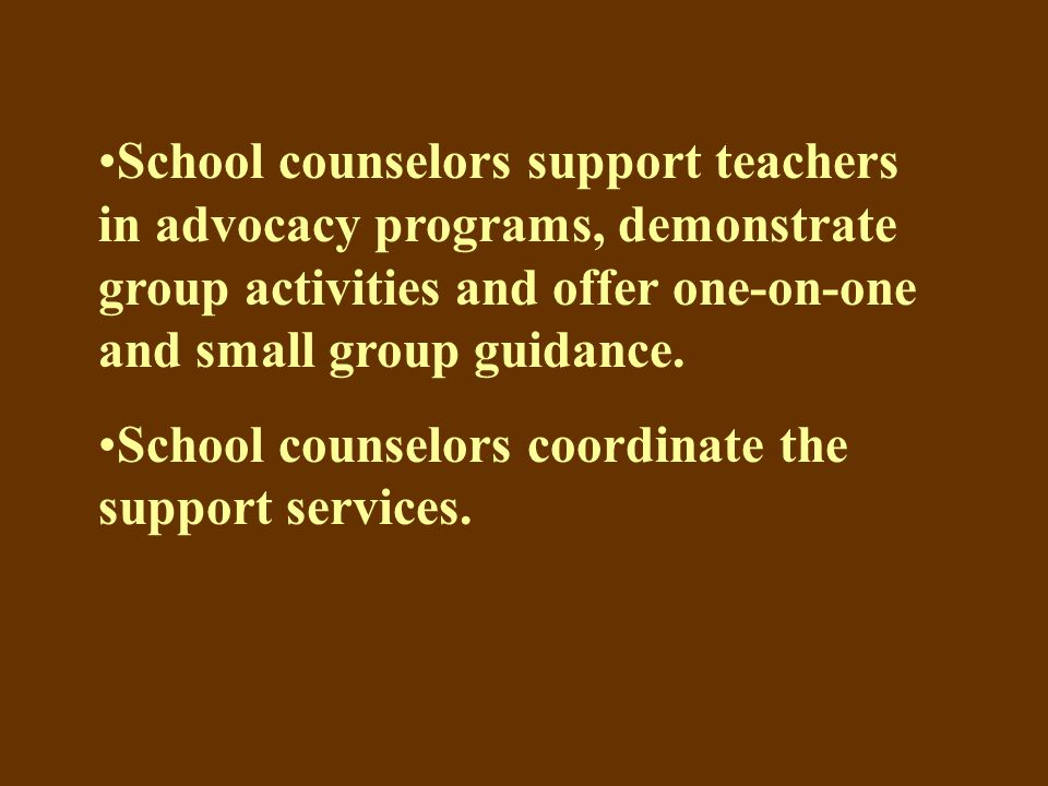 School counselors support teachers in advocacy programs, demonstrate group activities and offer one-on-one and small group guidance.