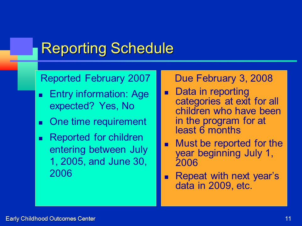Early Childhood Outcomes Center11 Reporting Schedule Reported February 2007 Entry information: Age expected.
