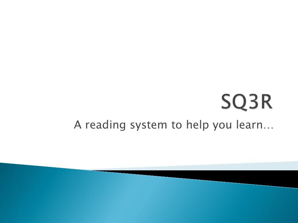 A reading system to help you learn…