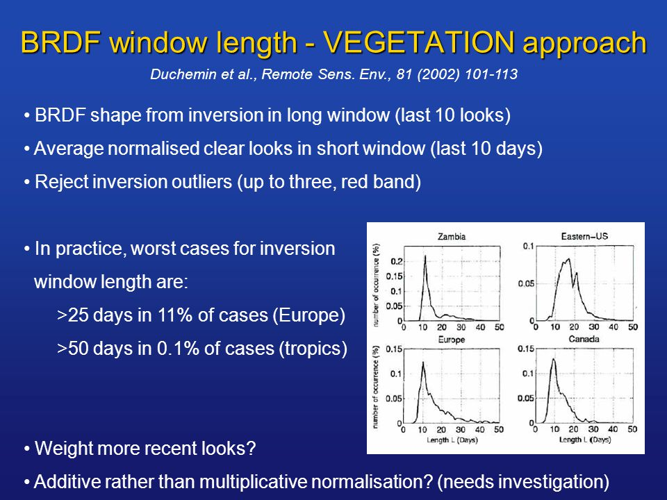 BRDF window length - VEGETATION approach BRDF shape from inversion in long window (last 10 looks) Average normalised clear looks in short window (last 10 days) Reject inversion outliers (up to three, red band) In practice, worst cases for inversion window length are: >25 days in 11% of cases (Europe) >50 days in 0.1% of cases (tropics) Weight more recent looks.