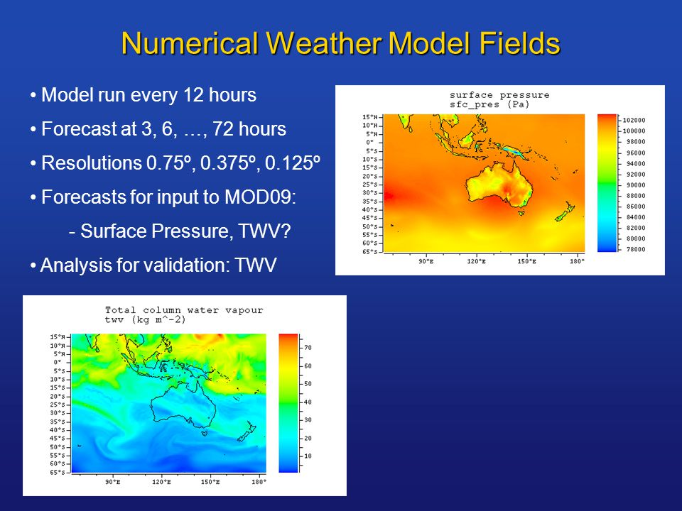 Numerical Weather Model Fields Model run every 12 hours Forecast at 3, 6, …, 72 hours Resolutions 0.75º, 0.375º, 0.125º Forecasts for input to MOD09: - Surface Pressure, TWV.