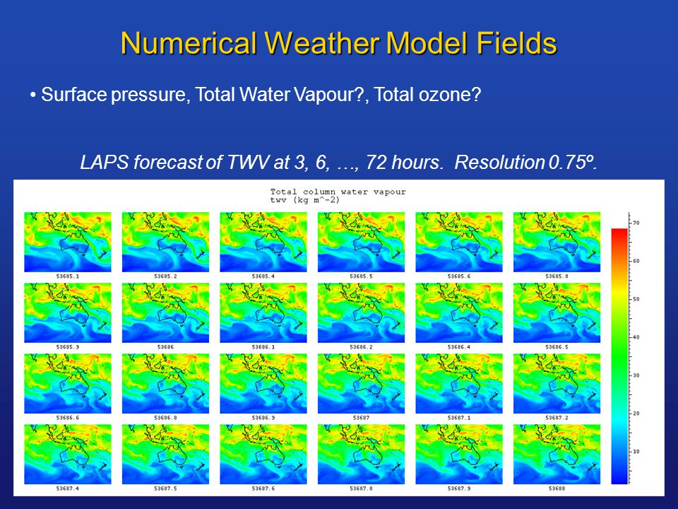 Numerical Weather Model Fields Surface pressure, Total Water Vapour , Total ozone.