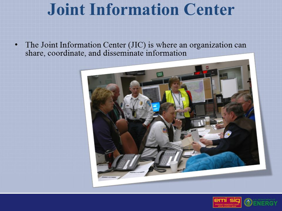 Joint Information Center The Joint Information Center (JIC) is where an organization can share, coordinate, and disseminate information