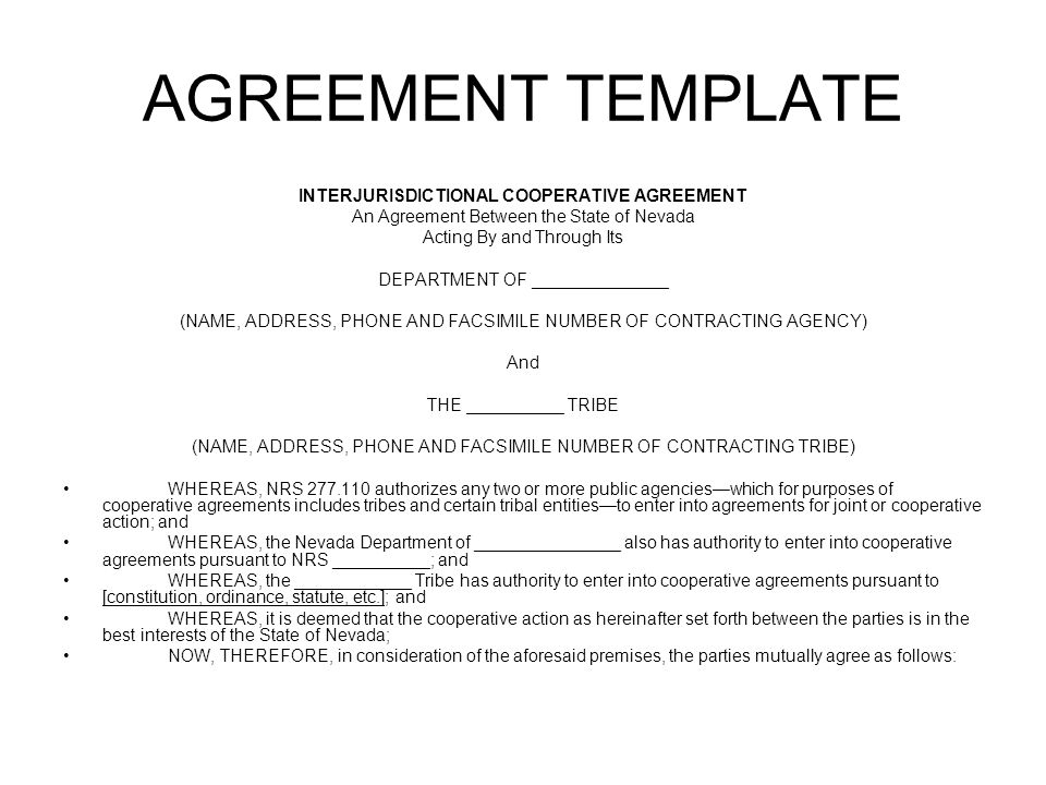 Draft Agreement Template Interjurisdictional Cooperation And Mutual