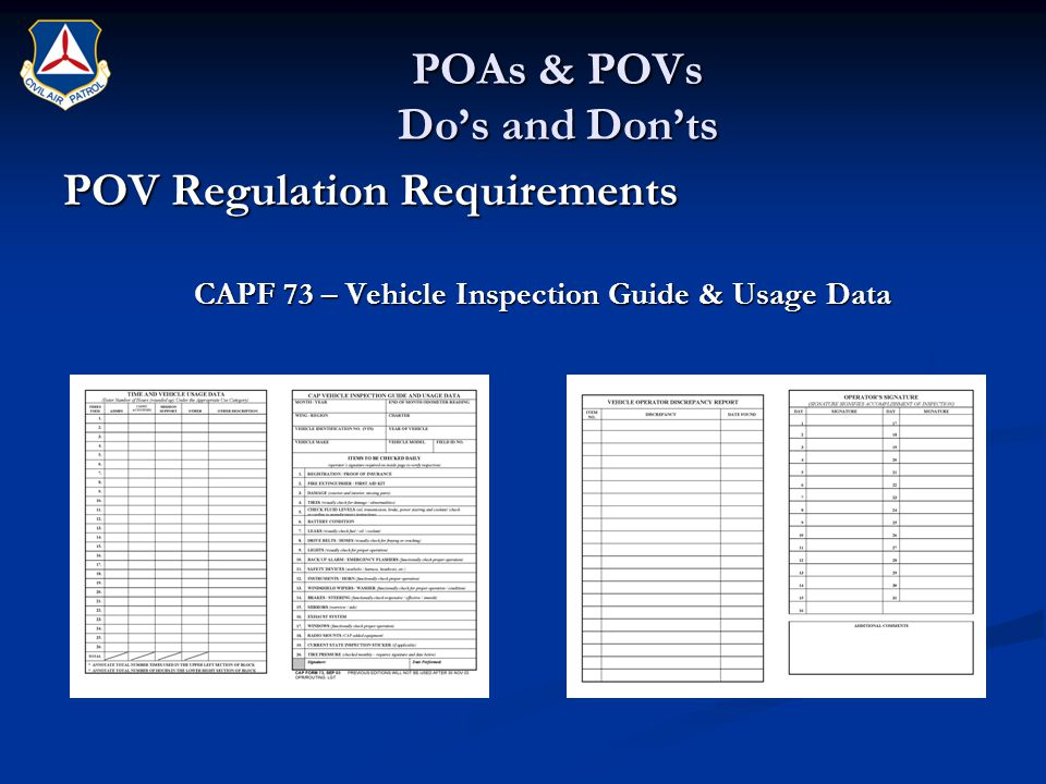 POAs & POVs Do's and Don'ts POV Regulation Requirements CAPF 73 – Vehicle Inspection Guide & Usage Data