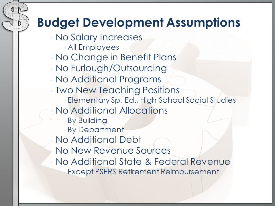 Budget Development Assumptions No Salary Increases All Employees No Change in Benefit Plans No Furlough/Outsourcing No Additional Programs Two New Teaching Positions Elementary Sp.