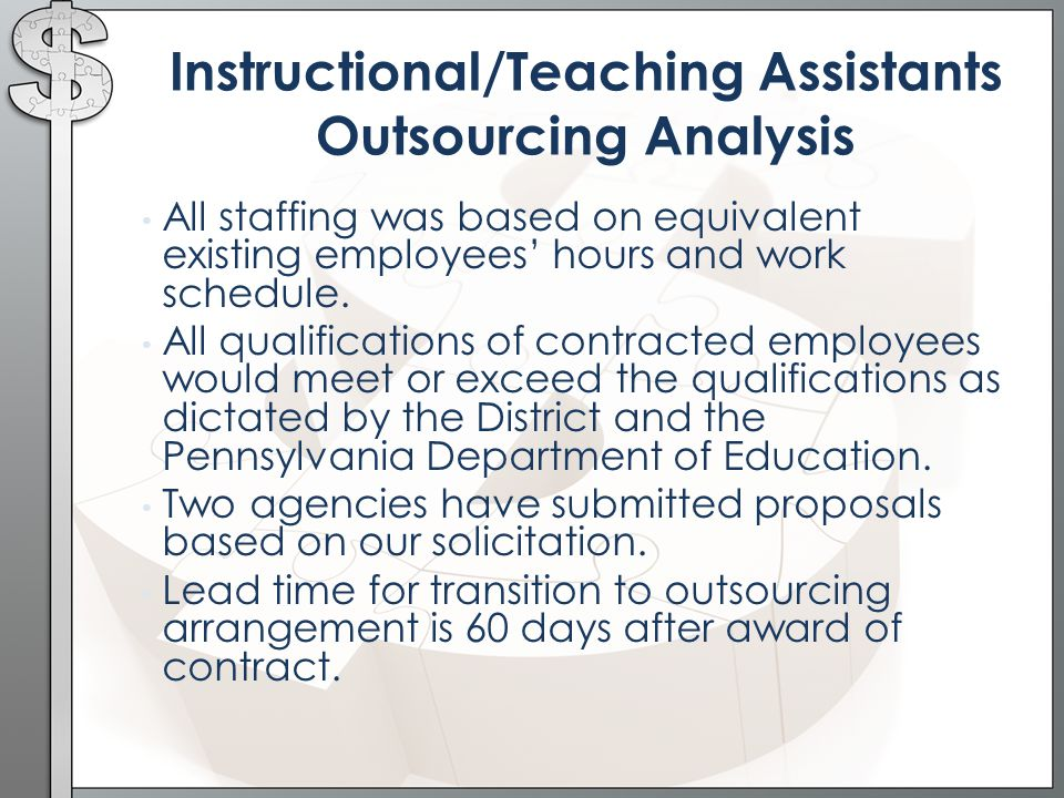 Instructional/Teaching Assistants Outsourcing Analysis All staffing was based on equivalent existing employees' hours and work schedule.