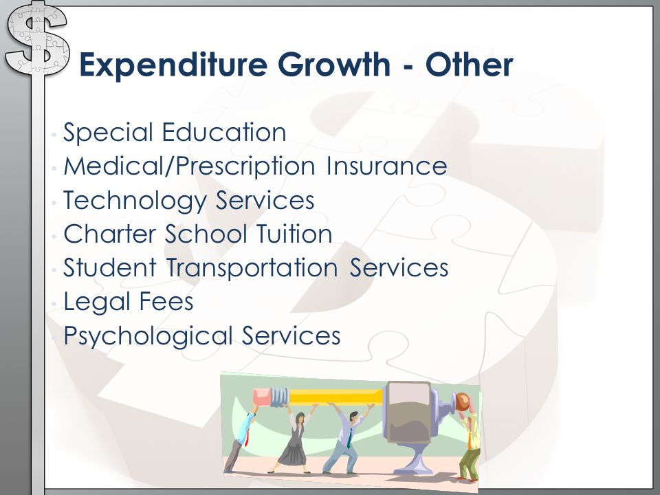 Expenditure Growth - Other Special Education Medical/Prescription Insurance Technology Services Charter School Tuition Student Transportation Services Legal Fees Psychological Services