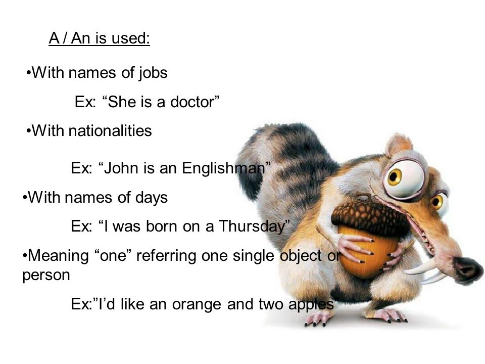 With names of jobs Ex: She is a doctor With nationalities Ex: John is an Englishman With names of days Ex: I was born on a Thursday Meaning one referring one single object or person Ex: I'd like an orange and two apples A / An is used: