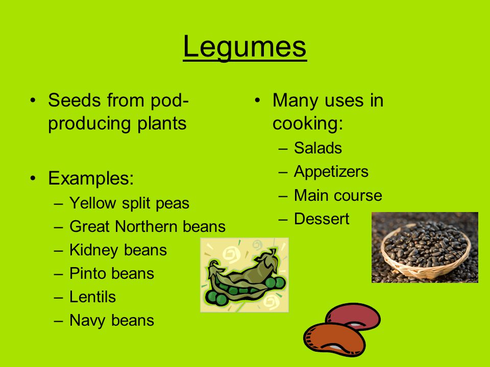 Legumes Seeds from pod- producing plants Examples: –Yellow split peas –Great Northern beans –Kidney beans –Pinto beans –Lentils –Navy beans Many uses in cooking: –Salads –Appetizers –Main course –Dessert