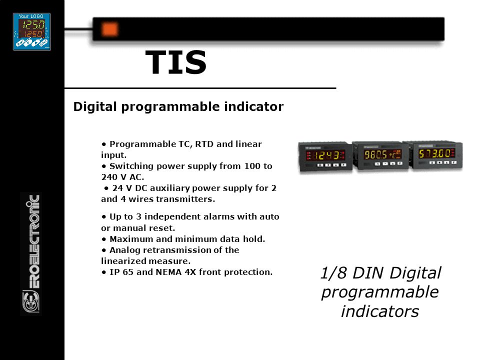 Digital programmable indicator TIS Programmable TC, RTD and linear input.