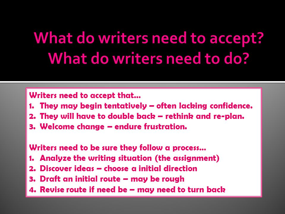 Writers need to accept that… 1.They may begin tentatively – often lacking confidence.