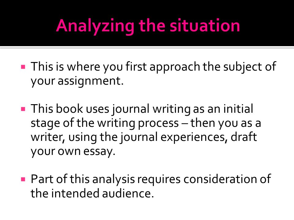  This is where you first approach the subject of your assignment.