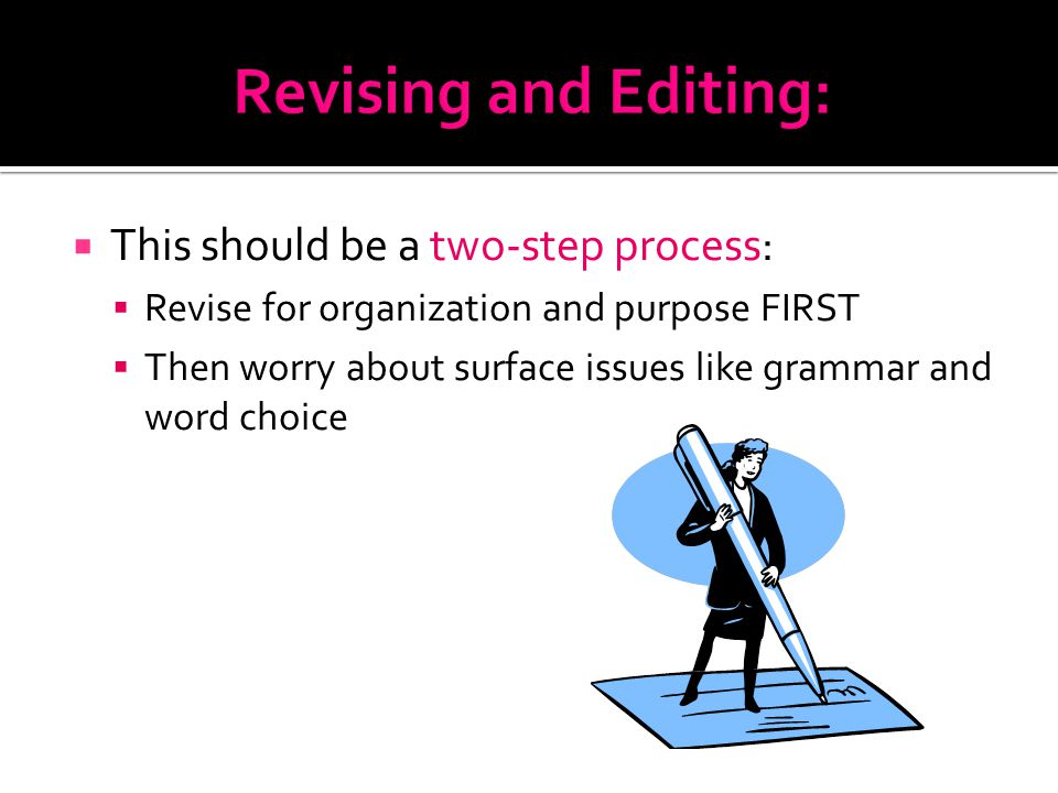  This should be a two-step process:  Revise for organization and purpose FIRST  Then worry about surface issues like grammar and word choice