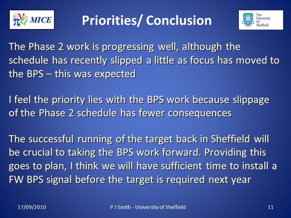 MICE Priorities/ Conclusion The Phase 2 work is progressing well, although the schedule has recently slipped a little as focus has moved to the BPS – this was expected I feel the priority lies with the BPS work because slippage of the Phase 2 schedule has fewer consequences The successful running of the target back in Sheffield will be crucial to taking the BPS work forward.