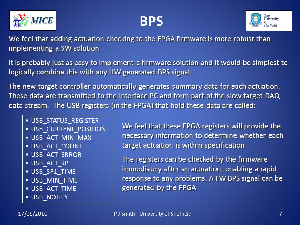 MICE BPS We feel that adding actuation checking to the FPGA firmware is more robust than implementing a SW solution It is probably just as easy to implement a firmware solution and it would be simplest to logically combine this with any HW generated BPS signal The new target controller automatically generates summary data for each actuation.