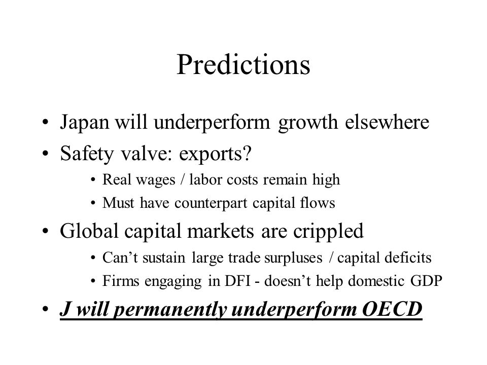 Predictions Japan will underperform growth elsewhere Safety valve: exports.