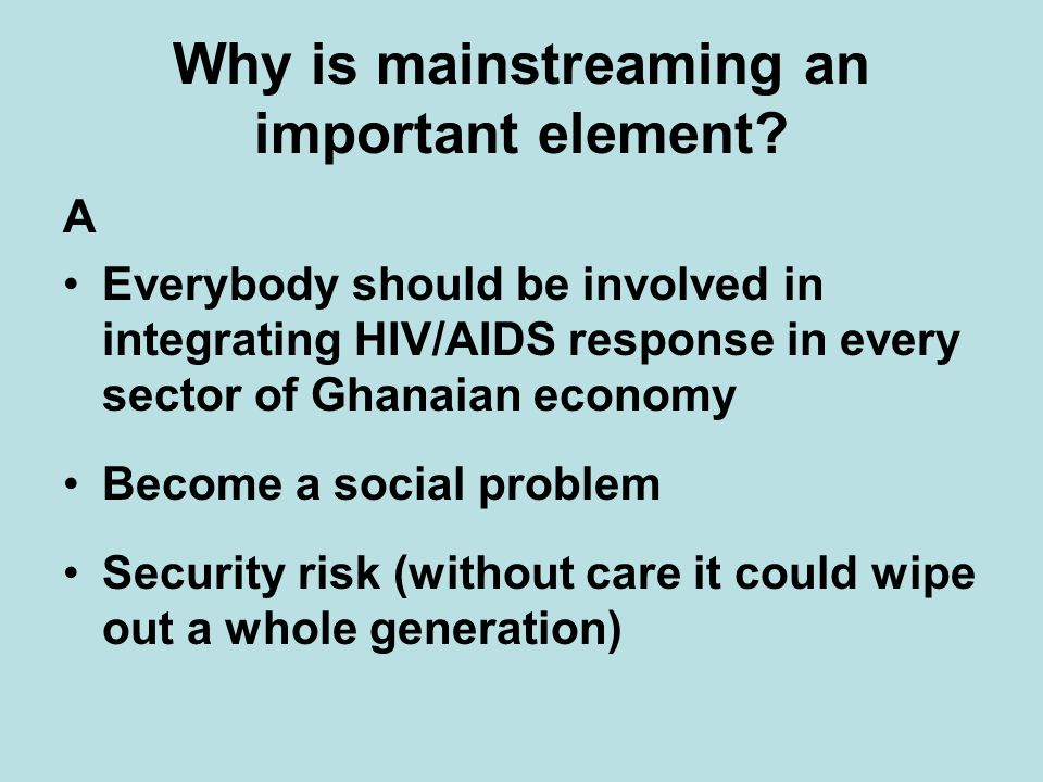 Why is mainstreaming an important element.