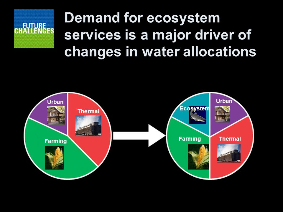 Demand for ecosystem services is a major driver of changes in water allocations Farming Urban Thermal Farming Urban Ecosystem