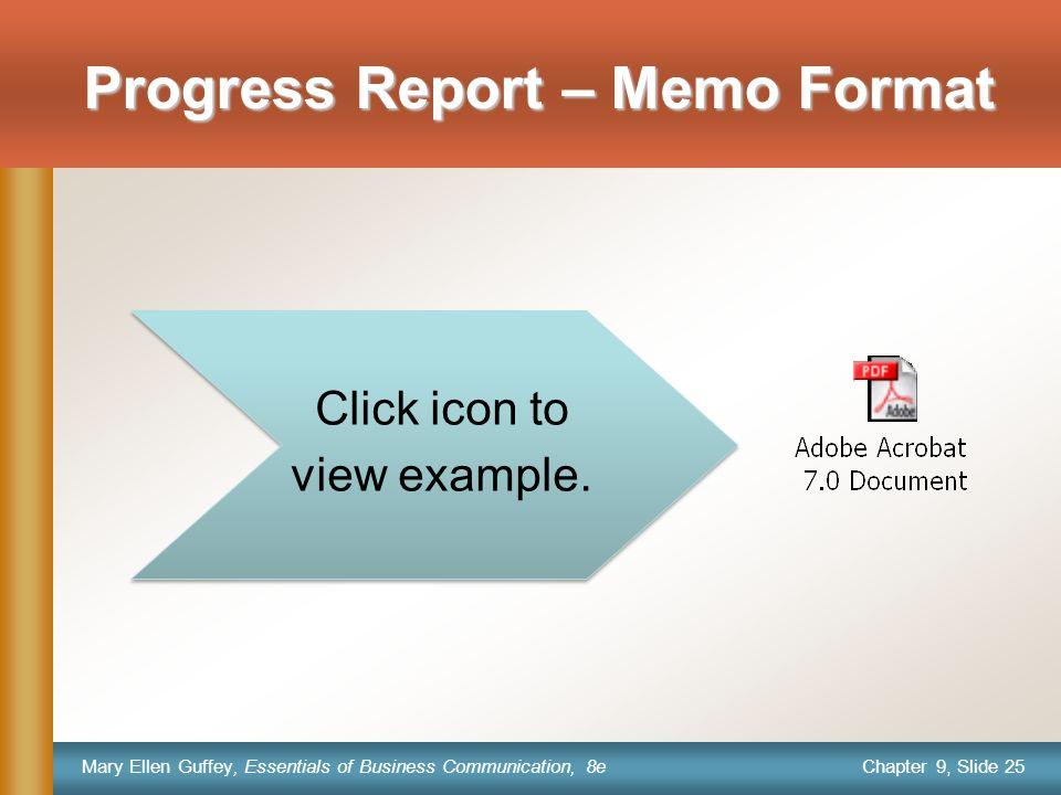 example progress report memo format