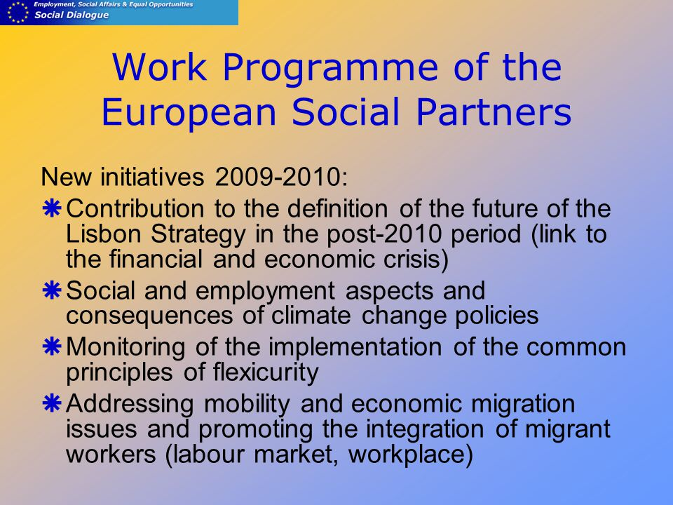 Work Programme of the European Social Partners New initiatives :  Contribution to the definition of the future of the Lisbon Strategy in the post-2010 period (link to the financial and economic crisis)  Social and employment aspects and consequences of climate change policies  Monitoring of the implementation of the common principles of flexicurity  Addressing mobility and economic migration issues and promoting the integration of migrant workers (labour market, workplace)