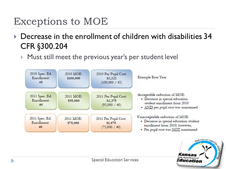 Exceptions to MOE Special Education Services  Decrease in the enrollment of children with disabilities 34 CFR §  Must still meet the previous year's per student level